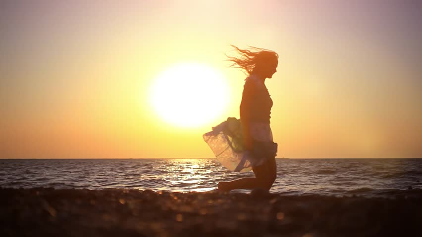 Happy young romantic woman have fun on pebble beach at beautiful summer day. HD. 1920x1080 | Shutterstock HD Video #9073211