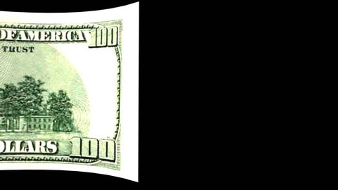 Dollar Transition Video wiper of 100 Dollar banknote from left to right with alpha channel (transparent background)in full hd format