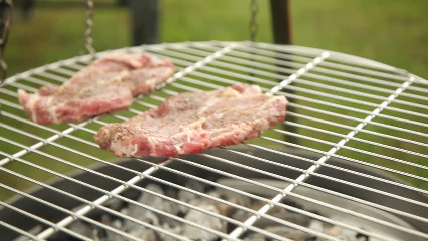 Barbecue - raw steak close up | Shutterstock HD Video #9088442