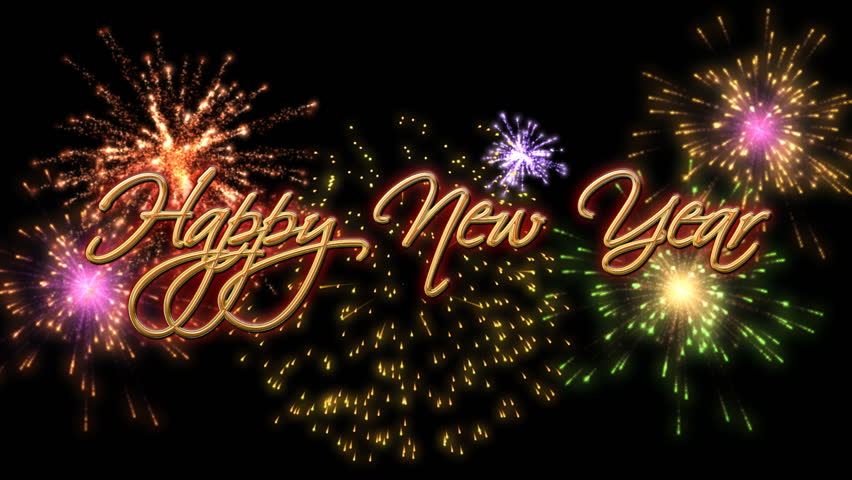 Happy New Year, Colorful Fireworks Stock Footage Video (100% Royalty ...
