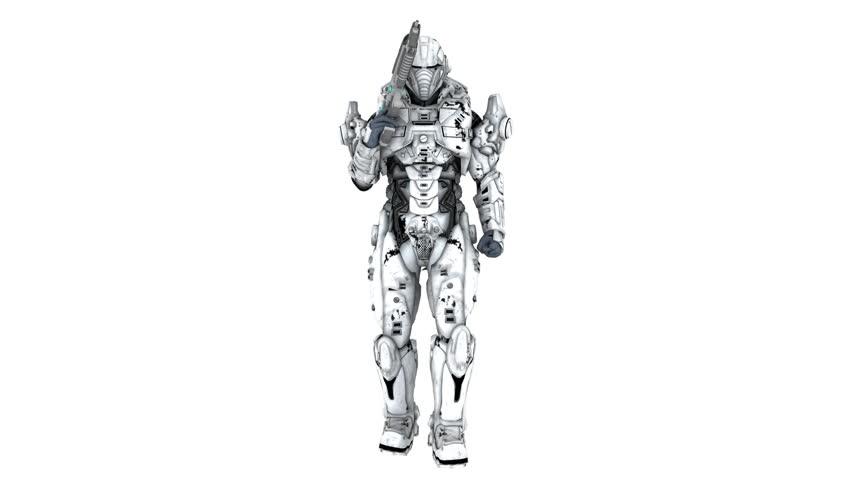 Robot with gun rotating animation  | Shutterstock HD Video #9112511