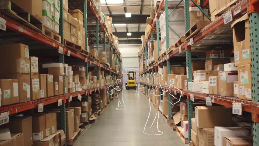 Camera cranes up on shelves of cardboard boxes inside a storage warehouse. (with animated outlines of people) | Shutterstock HD Video #9118967
