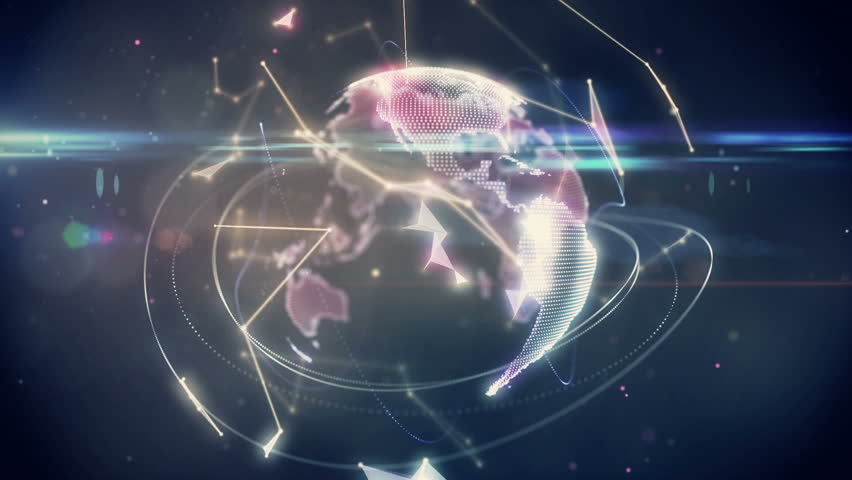 Digital animation of Connecting lines with earth graphic #9133694