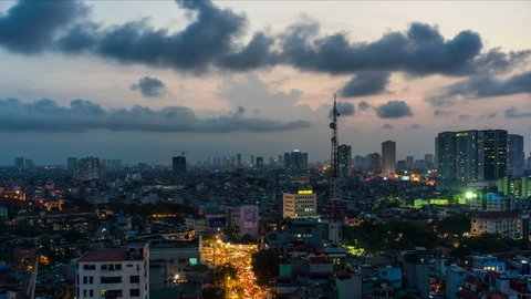 Hanoi cityscape at twilight, Pham Ngoc Thanh street. 4k timelapse with motion effect. High quality photographed with full frame camera Sony A7