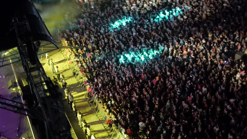 BELGRADE, SERBIA 2014: Flying over the stage and spectators at the music concert.
