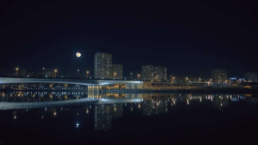 March 8, 2015 Russia, Moscow metro bridge across the river at night. | Shutterstock HD Video #9155861