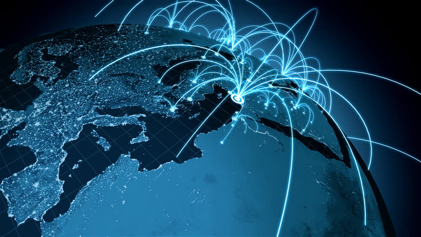 Growing connections over the earth. A worldwide network expanding over the world. Loops seamlessly.   Shutterstock HD Video #9166553