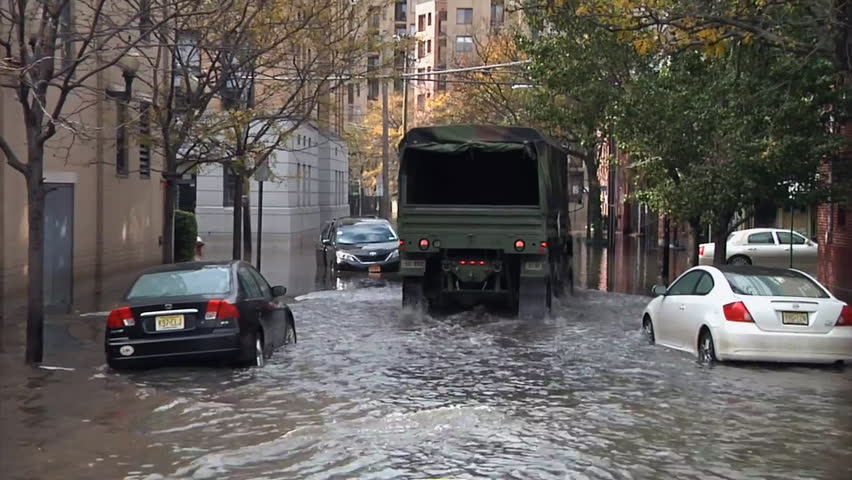 CIRCA 2010s - The city of Hoboken New Jersey finds itself underwater during Hurricane Sandy.