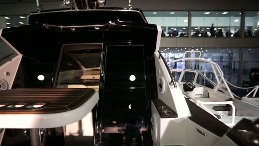 """MOSCOW, RUSSIA - MARCH 10, 2015: Glidecam, exterior and interior view of yacht. International boats and yachts exhibition, """"Moskovskoe Boat Show"""" in Crocus expo pavillion.   Shutterstock HD Video #9193316"""