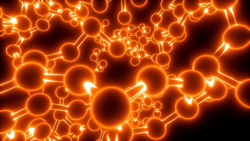 Molecule neon ball and stick model fly through atoms chemistry biology, orange | Shutterstock HD Video #9196379