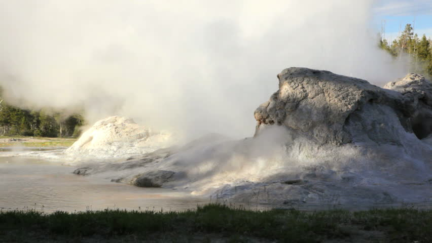 Eruption from Grotto Geyser, Yellowstone National Park