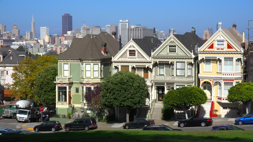 SAN FRANCISCO, CALIFORNIA - CIRCA 2014 - Beautiful view from Alamo Park in San Francisco of Victorian houses.