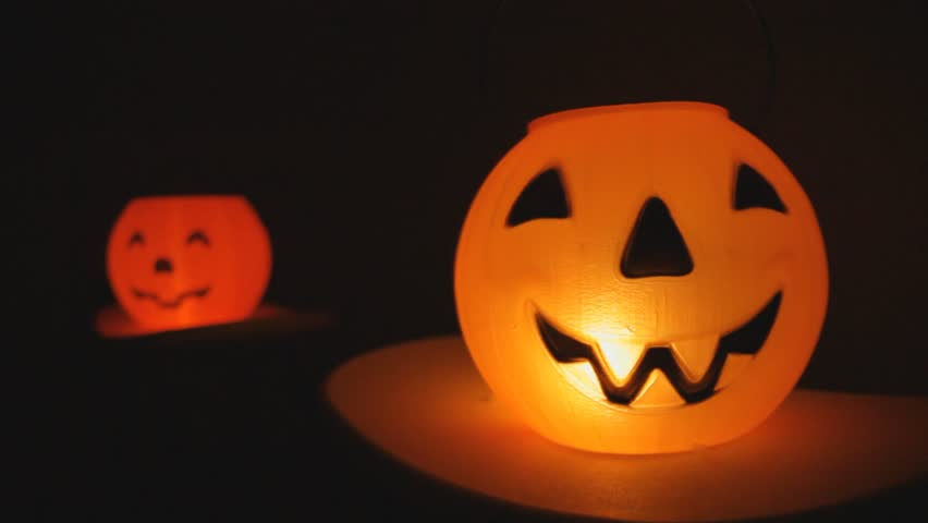 Halloween Jack-o-lantern with candle