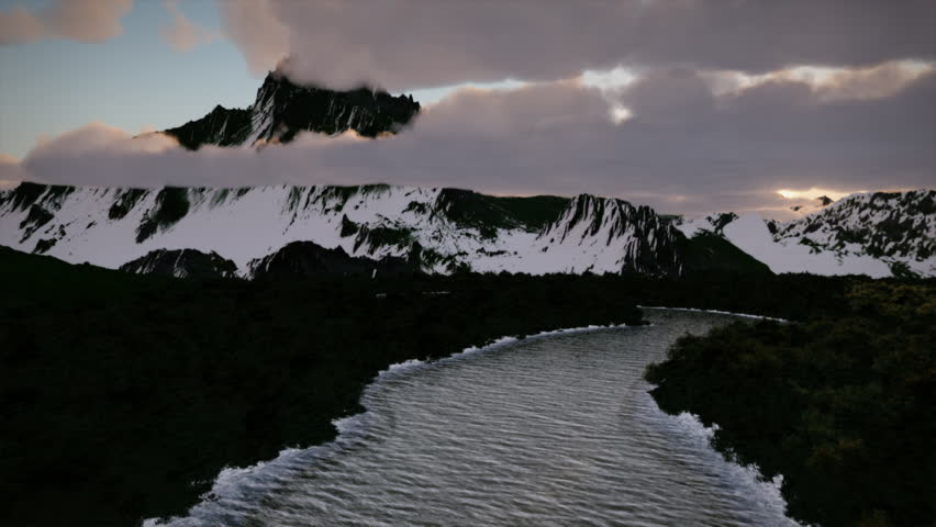 Sunrise Winter Wilderness Snow Mountains Frozen River Seasons Aerial Nature Exploration