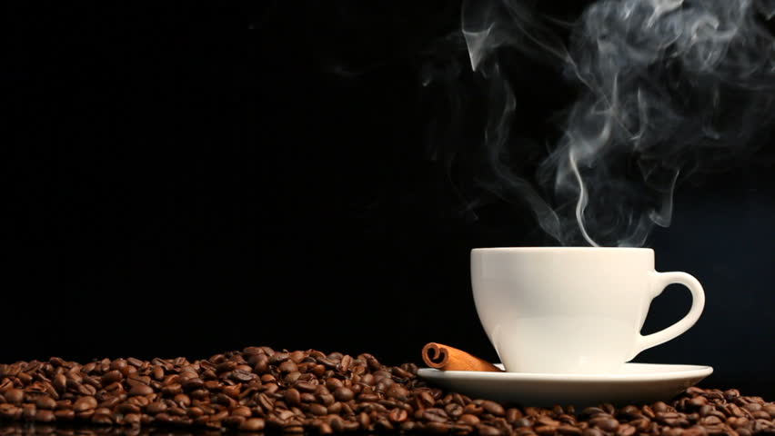 steaming cup of coffee for caffeine
