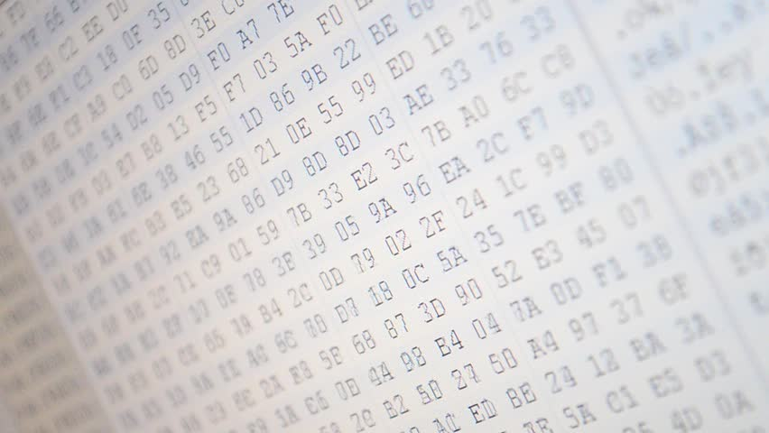 Hexadecimal program code on screen. Animated background of moving binary code numbers. | Shutterstock HD Video #9251975