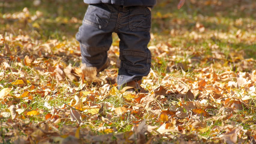 Baby stepping in autumn leaves closeup. | Shutterstock HD Video #9273977