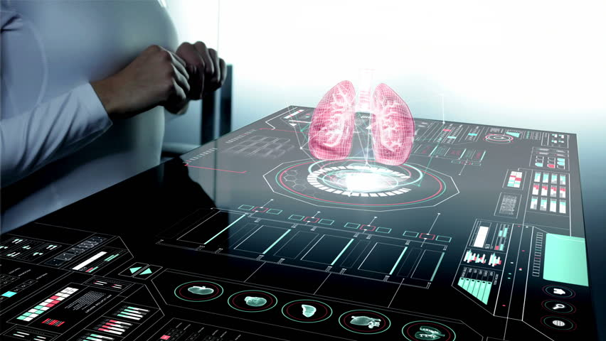 motion graphics healthcare medical technology touch screen hands organ lungs 3D