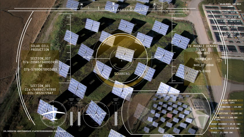 Drone Technology UAV Unmanned Aircraft solar motion graphics Turbine energy HUD #9277025