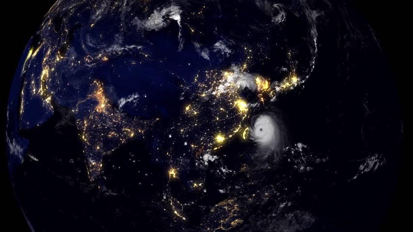 Hurricane China and Taiwan/Earth Globe visualizing a hurricane hitting China and Taiwan at night time.