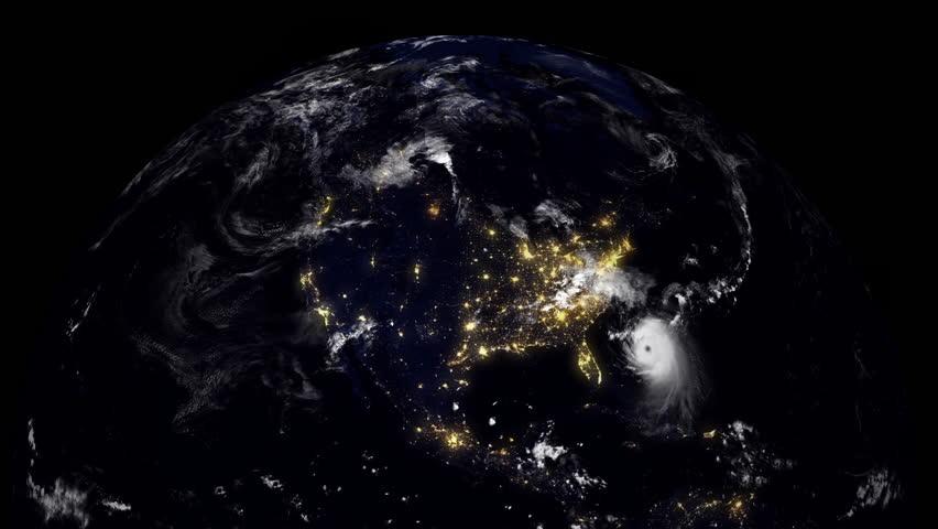 Hurricane Florida/Earth Globe visualizing a hurricane hitting Florida USA East Coast at night time.