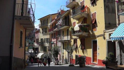 ITALY - CIRCA 2013 Scenes of the Italian coastal town Manarola.