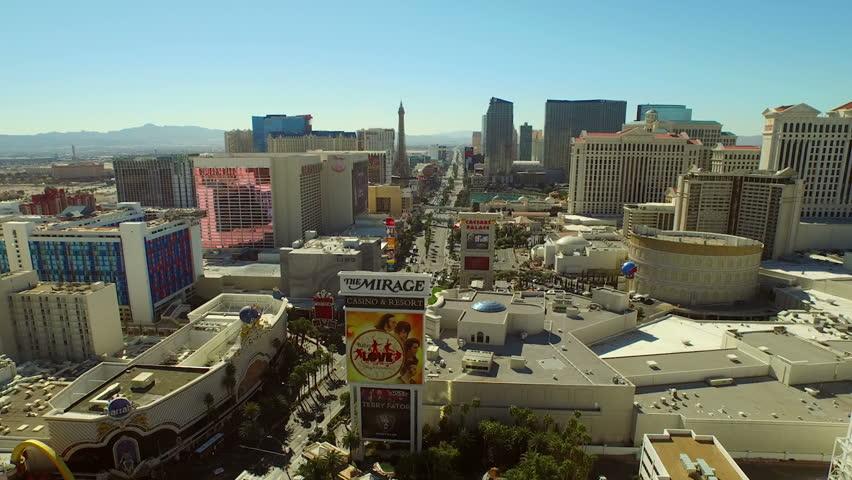 Las Vegas  2/18/15 Aerial Cityscape Strip v1 Low flying aerial over strip. 2/18/15