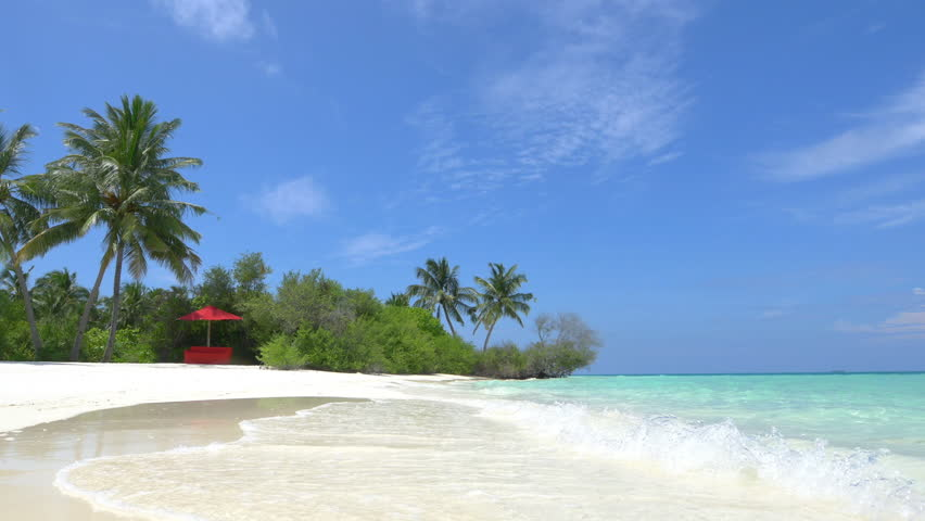 Empty daybed in exotic white sand lagoon   Shutterstock HD Video #9322442