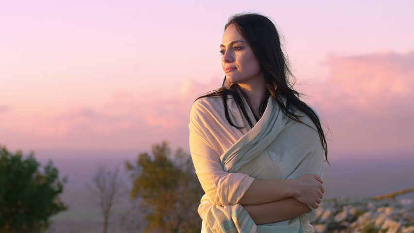 Thoughtful relaxed woman at the sunset   Shutterstock HD Video #9333935