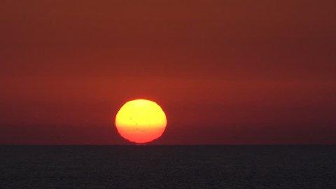 Sunset, Sunrise on Ocean, View Sea Waves on Exotic Beach in Dusk, Twilight Sea Sun Landscape on Lefkada Island, Greece in Summer, Crepuscular, Dusk Timelapse