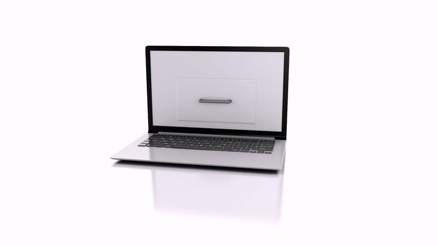 Data storage. Laptop and files .3d animation Royalty-Free Stock Footage #9370238