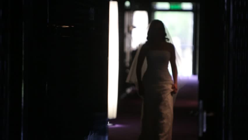 The bride walks down the hallway. silhouette. | Shutterstock HD Video #9391013