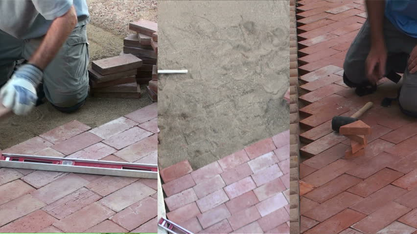 Man lays brick in backyard, do-it-yourself, garden path project, three shots, sequence montage. 1920x1080
