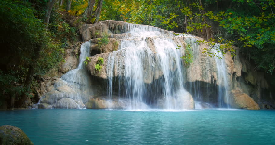 Waterfall in tropical jungle forest in central Thailand | Shutterstock HD Video #9421601