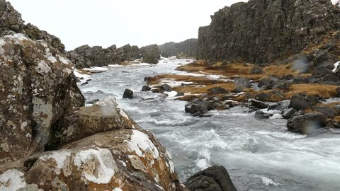 Oxara river from Oxararfoss waterfall in winter, this waterfall is one of the main attractions of Thiningvellir National Park, Iceland.