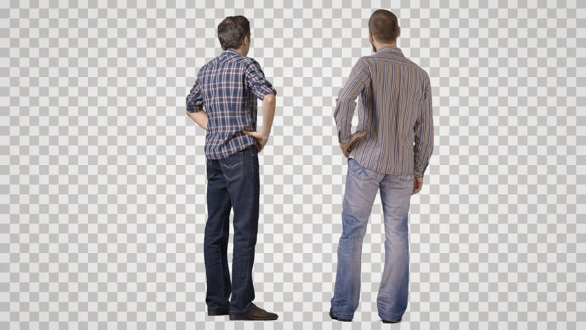 Two young men in casual standing and talking. Back view. Footage with alpha channel. File format - mov. Codeck - PNG+Alpha Combine these footage with other people to make crowd effect