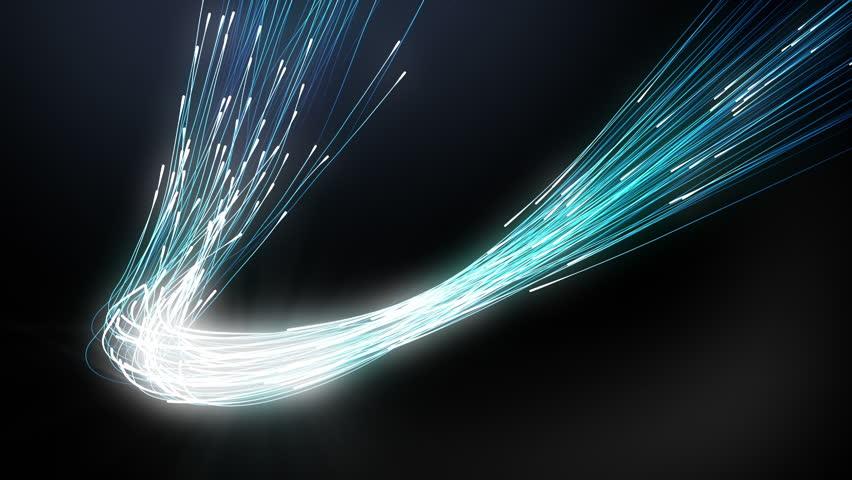 Fiber Optics Light Cable Concept on Curve #9453815