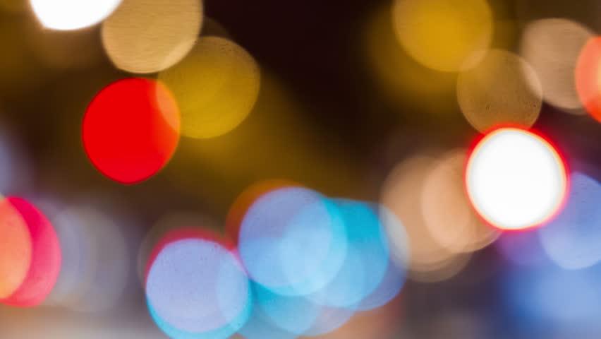 Bokeh city traffic lights timelapse (time lapse, time-lapse). Barcelona, Spain. #9465335