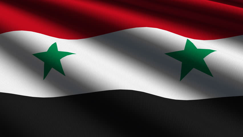 Syrian Close Up Waving Flag HD Loop Stock Footage Video - Syria flag