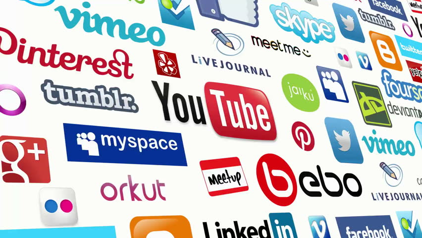 Social Media logo compilation animation. Seamlessly loopable scrolling compilation of social media icons and logos. All logos and trademarks remain property of their respective owners. Editorial only.