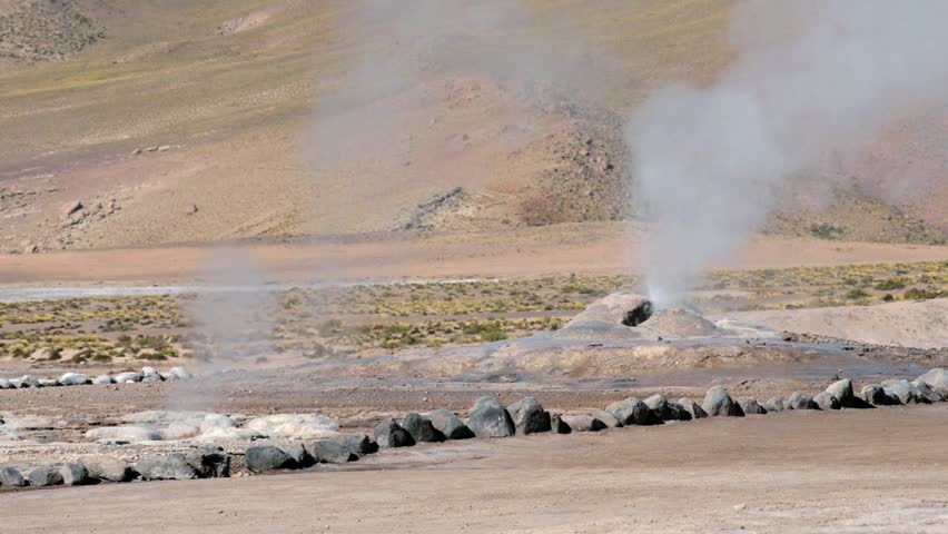 El Tatio Geysers valley in San Pedro de Atacama, Chile. El Tatio geysers located at 4320 meters above sea level are one of the major tourist attraction in Chile.   Shutterstock HD Video #9492461