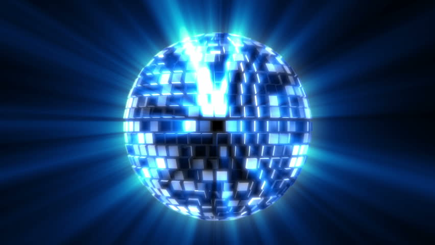Spinning disco ball with blue shinny streaks of light | Shutterstock HD Video #9492749