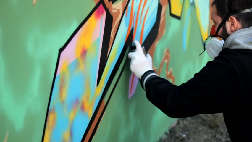Artist make Graffiti on the wall 1920x1080 full hd footage