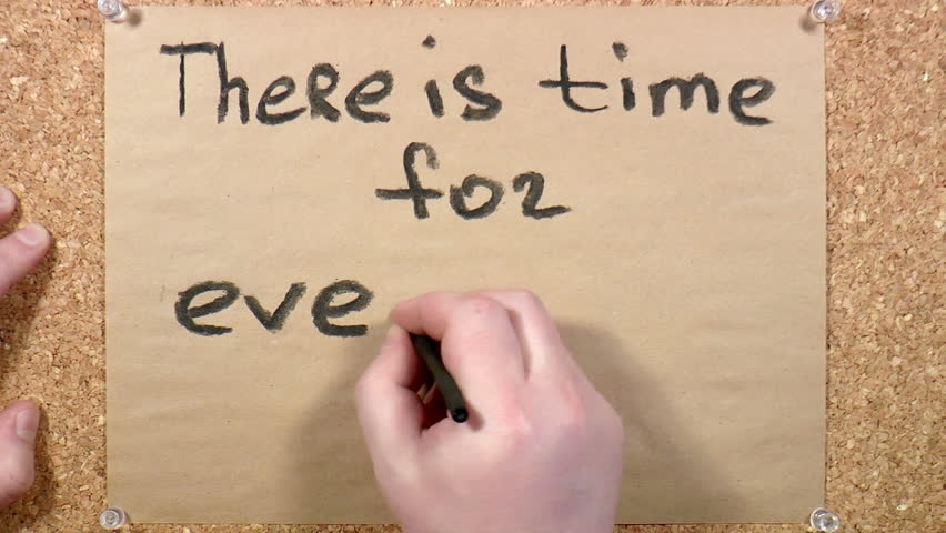 In charcoal on paper THERE IS TIME FOR EVERYTHING | Shutterstock HD Video #9507062