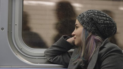 Girl Riding MTA Subway Train - Pretty Urban Lady with Dyed Hair - Raver Commuting in New York City 4K