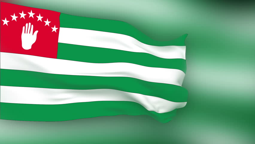 Abkhazia Flag slowly waving in the wind. Silk material. Flag color background. Seamless, 8 seconds long loop.
