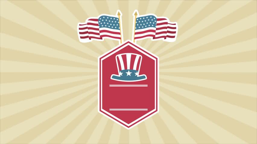 Usa flag label, Video animation, HD 1080