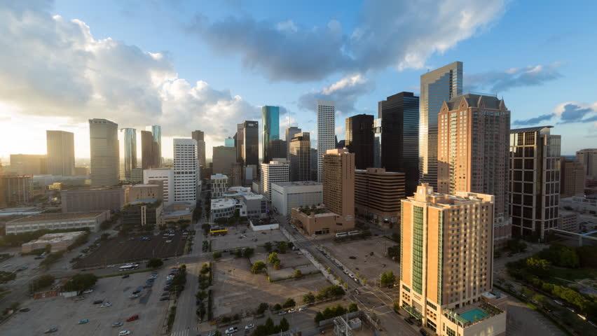 Houston - CIRCA DECEMBER 2013: City skyline, day to night