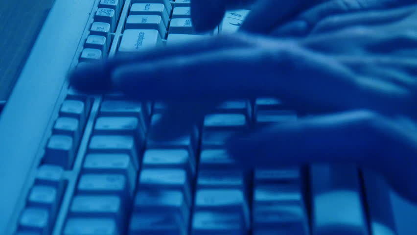 Close Up Typing On Blue Keyboard, real time | Shutterstock HD Video #9540236