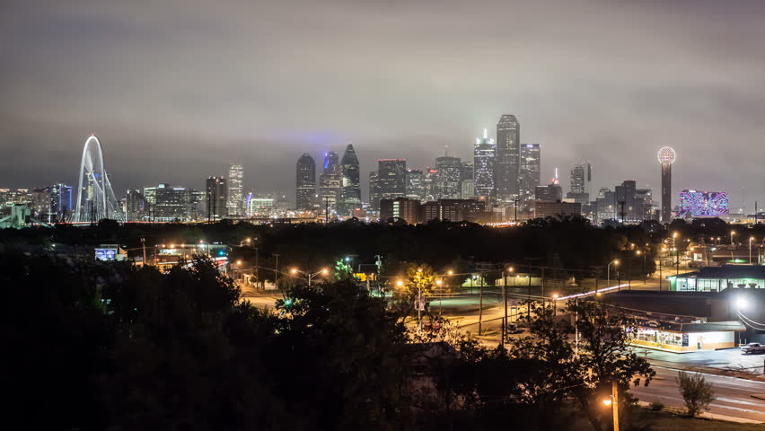 Dallas - CIRCA DECEMBER 2013: Night to day city skyline